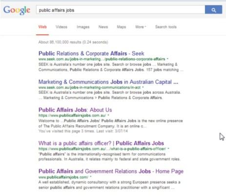 Google-Ranking (SEEK vs PAJ)