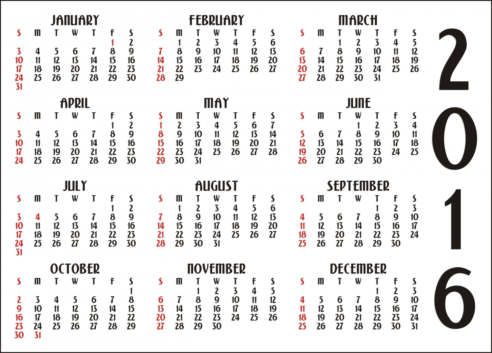 12 Month Calendar Free Stock Photo