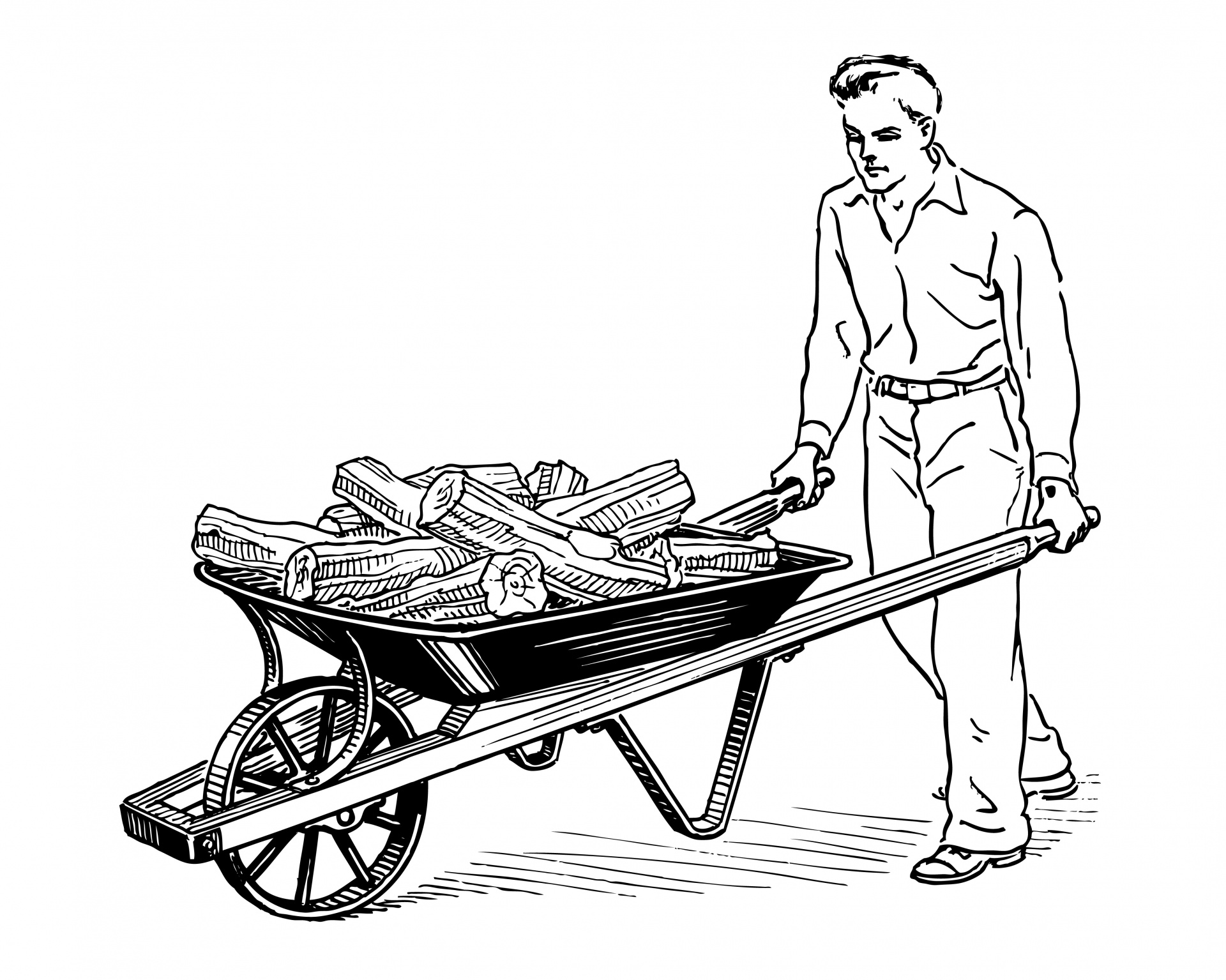 Man Pushing Wheelbarrow Clipart Free Stock Photo