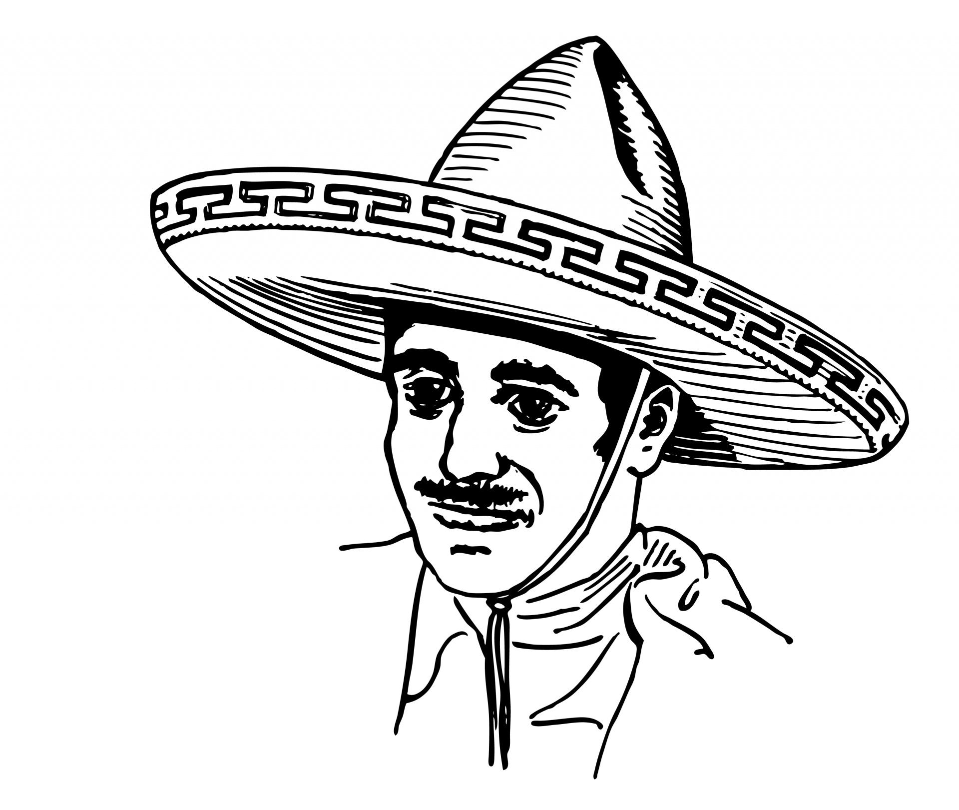 Mexican In Sombrero Clipart Free Stock Photo