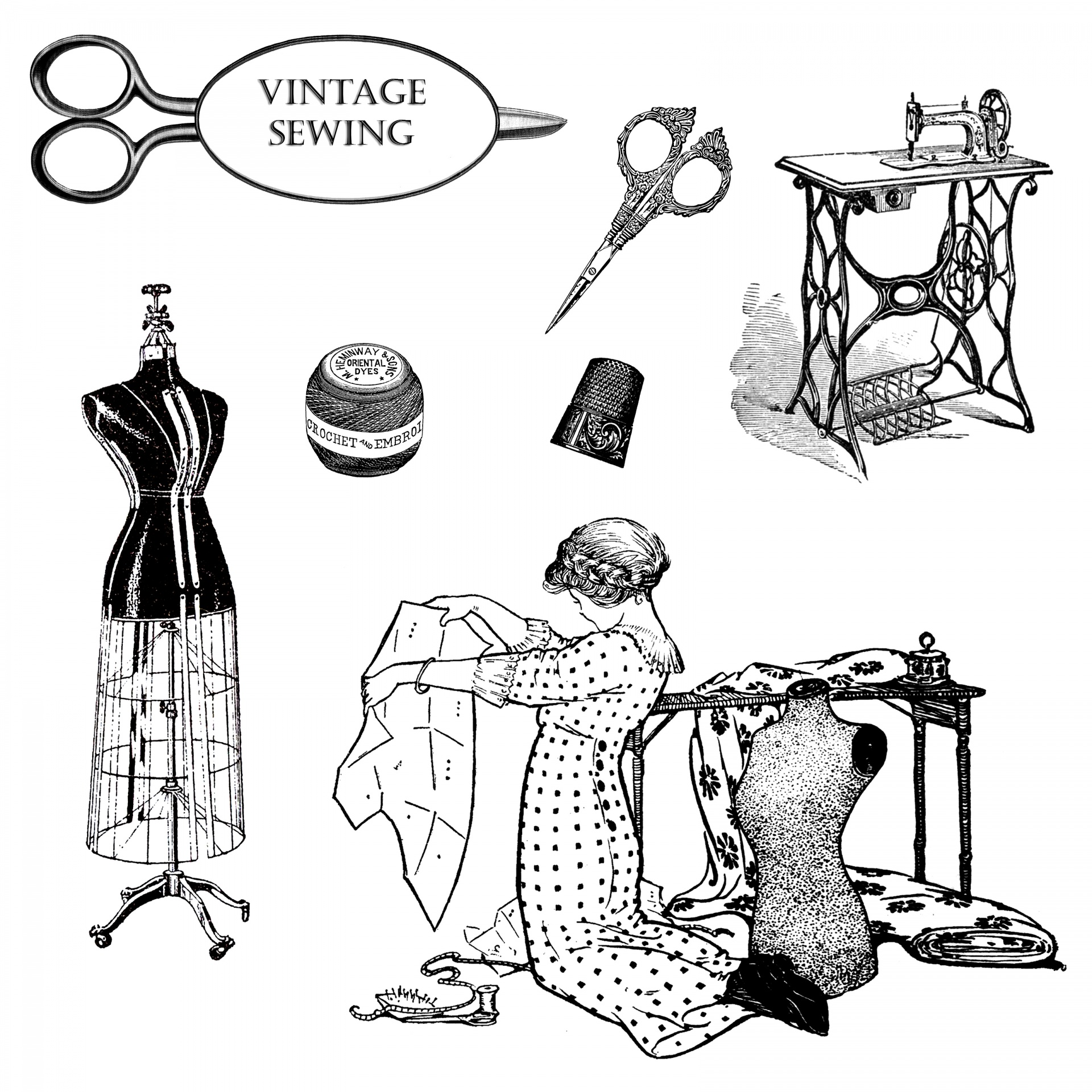 Vintage Sewing Clipart Free Stock Photo
