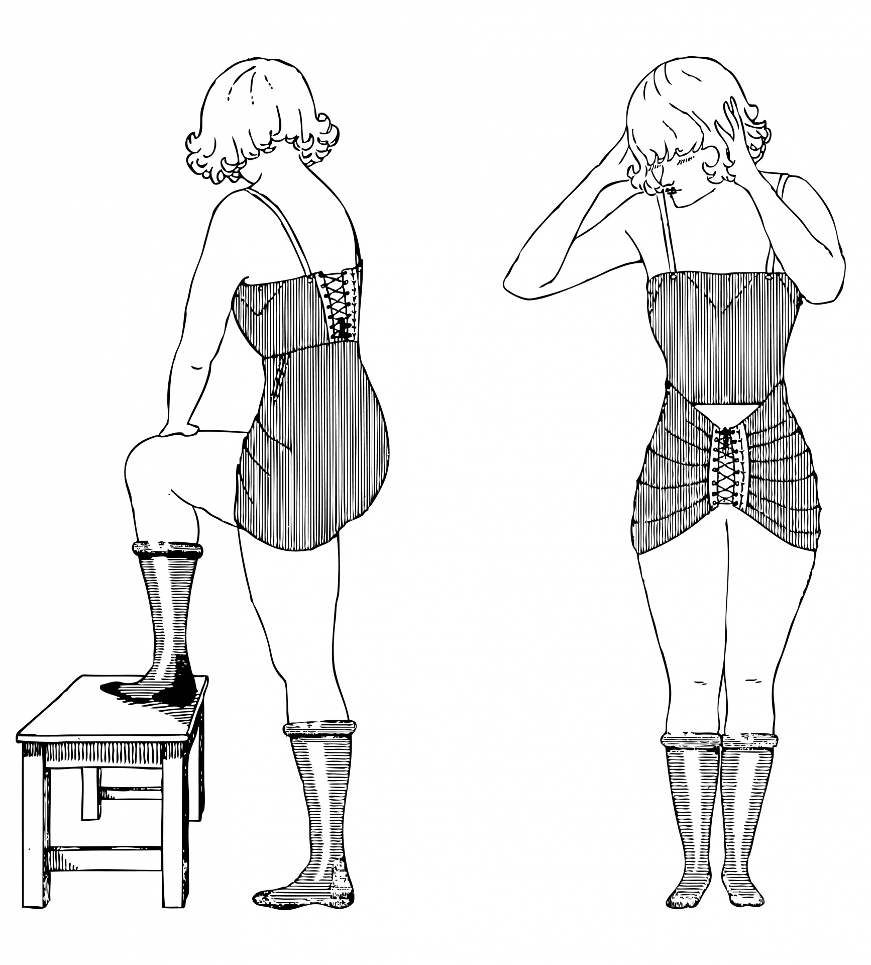 Vintage Underwear Woman Clipart Free Stock Photo