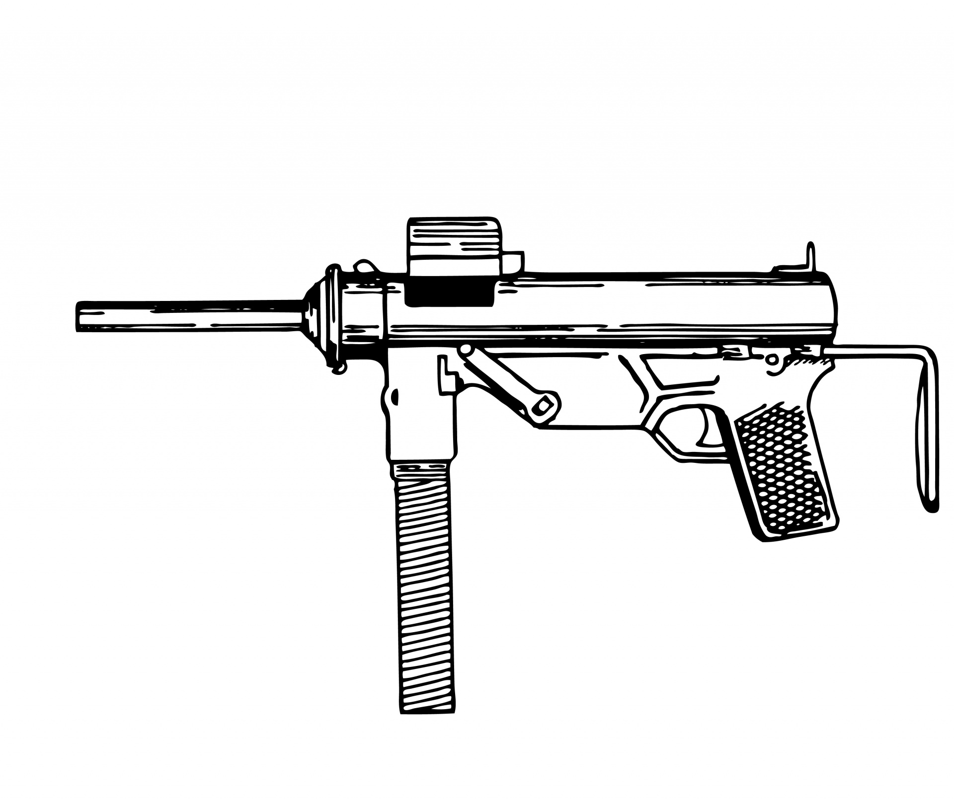 Submachine Gun Illustration Clipart Free Stock Photo