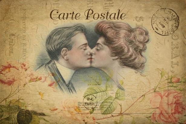 Romantic Couple Vintage Postcard Free Stock Photo Public