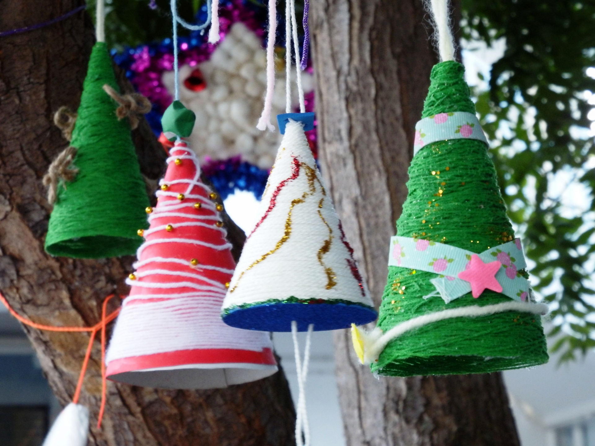 Handmade Christmas Tree Mobiles Free Stock Photo Public