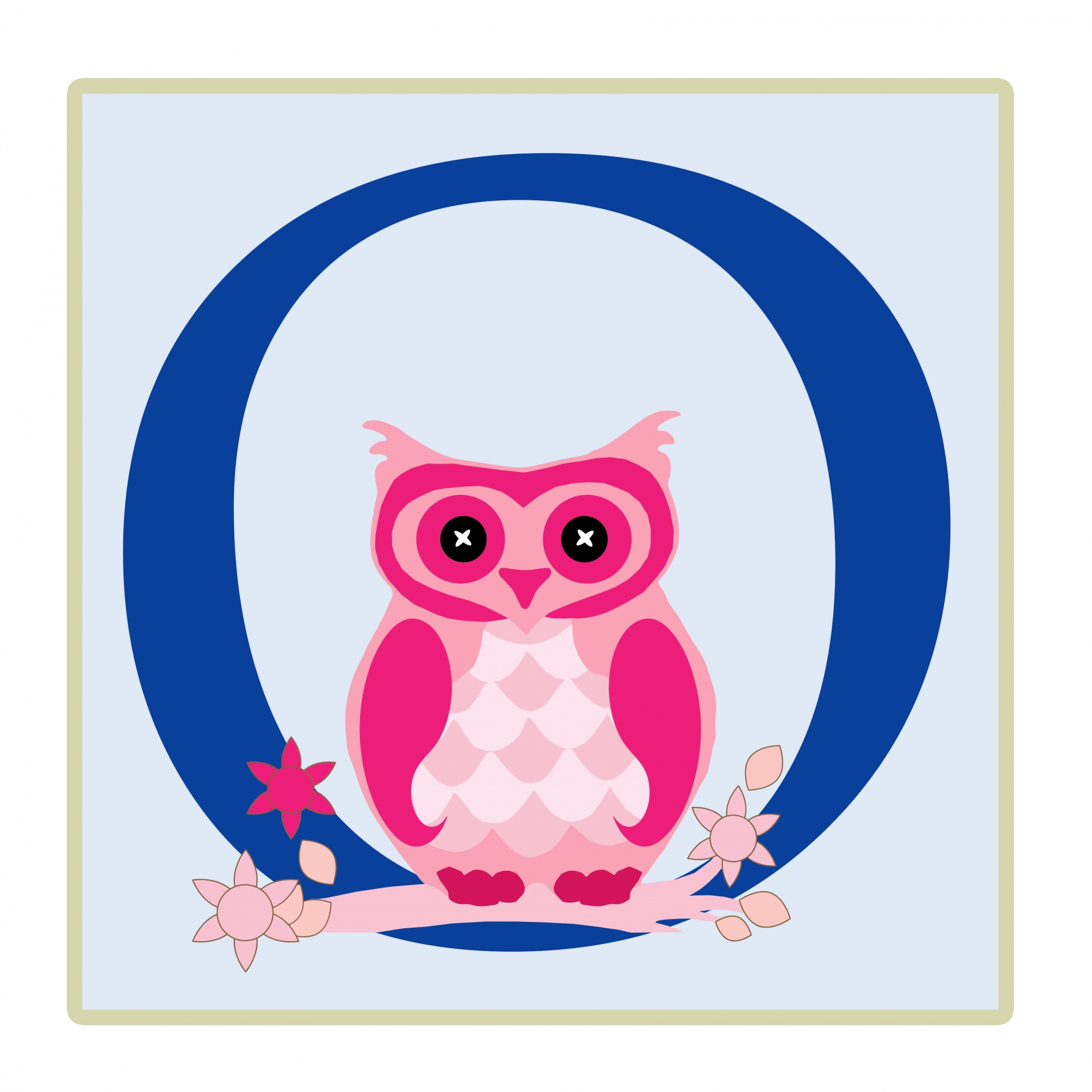Letter O Owl Illustration Free Stock Photo