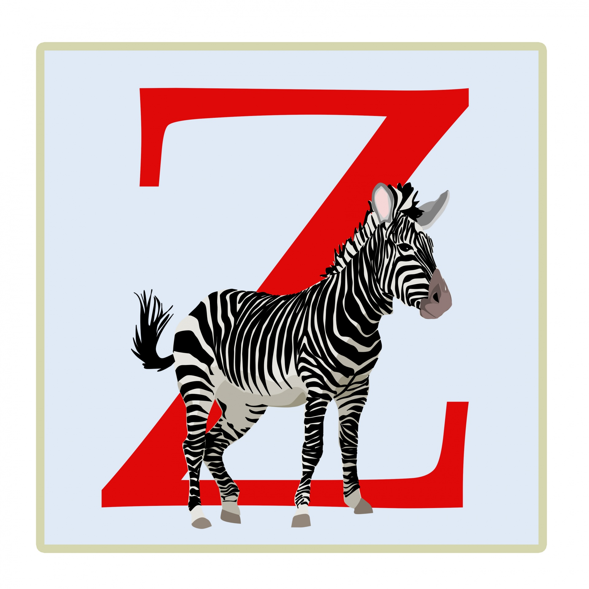 Letter Z Zebra Illustration Free Stock Photo