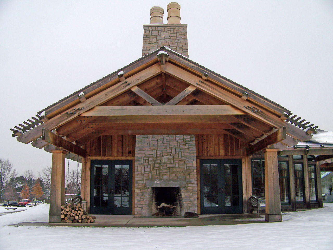 Building With Outdoor Fireplace Free Stock Photo