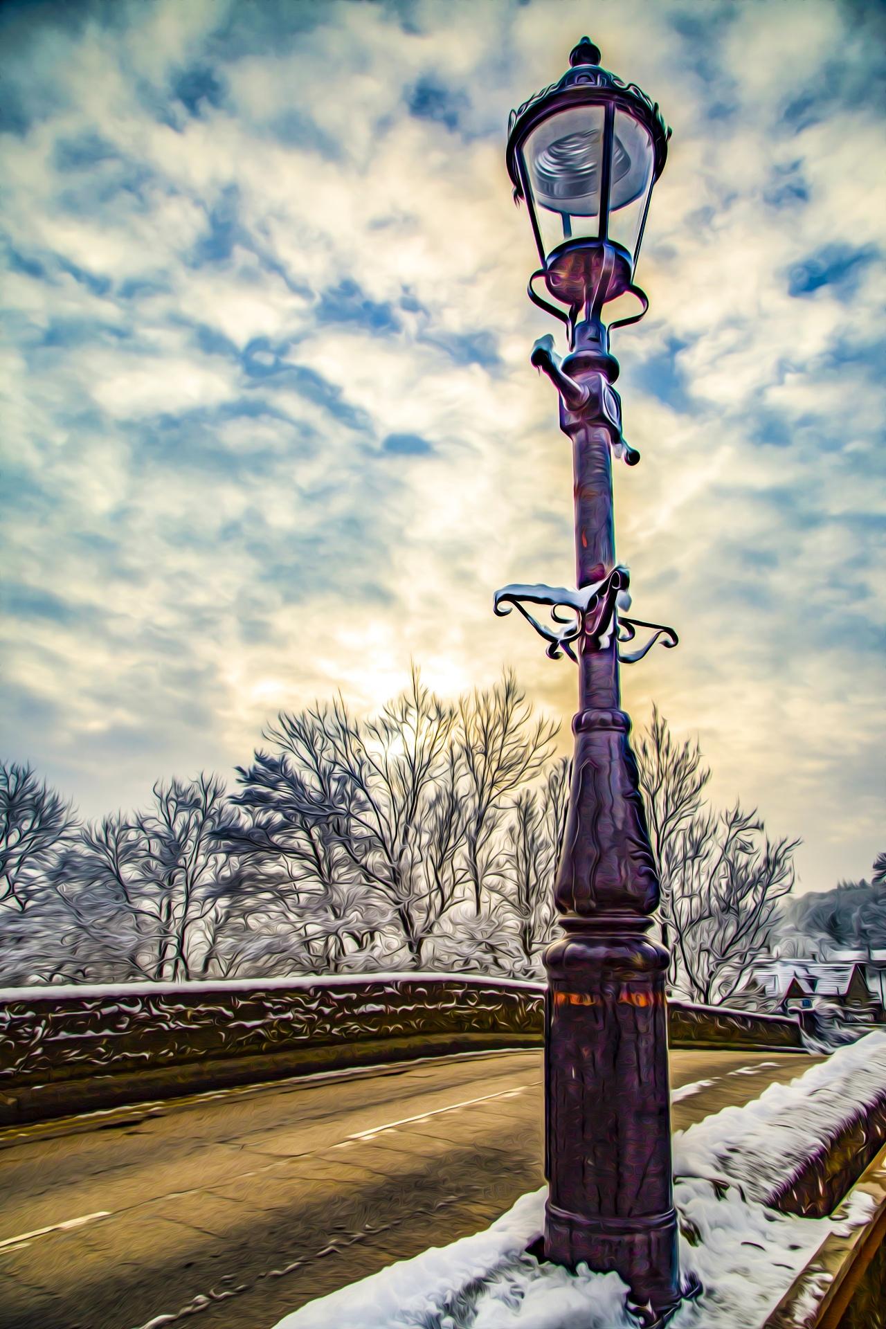 Oil Painting Street Lamp Free Stock Photo Public Domain