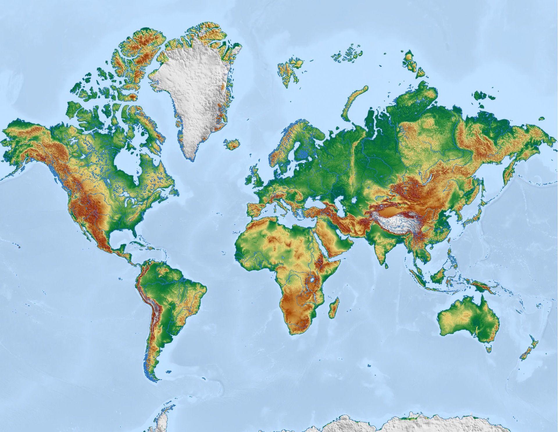 Physical World Map Free Stock Photo