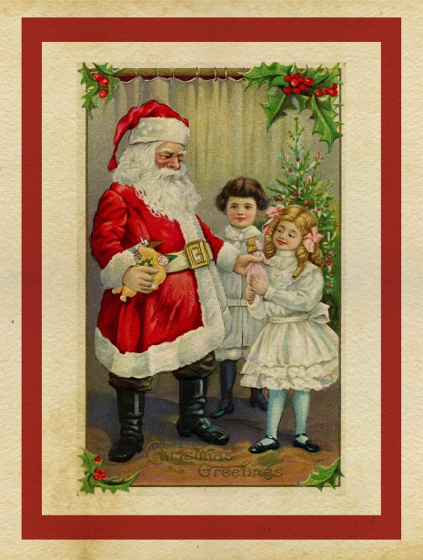 Christmas Card Vintage Santa Free Stock Photo Public