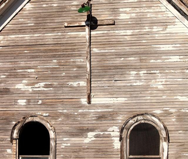 Abandoned Church Windows And Cross