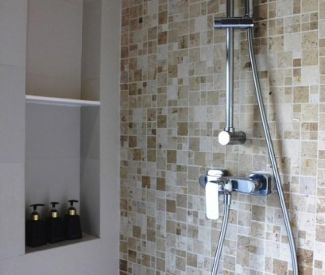 Chrome Shower Unit In A Bathroom