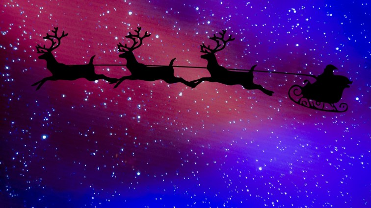 Santa Claus And Sleigh Silhouette