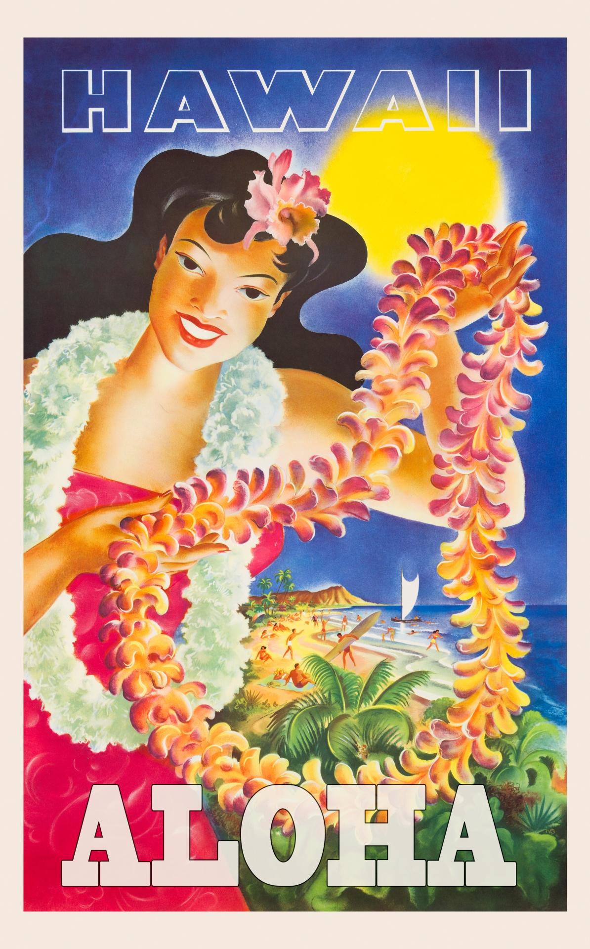 hawaii travel poster free stock photo