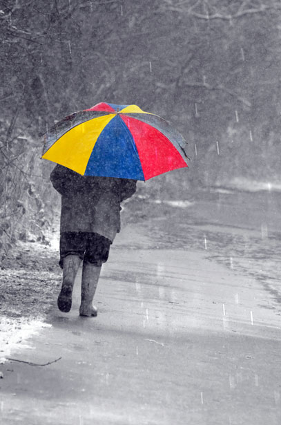 Colourful Umbrella And Man