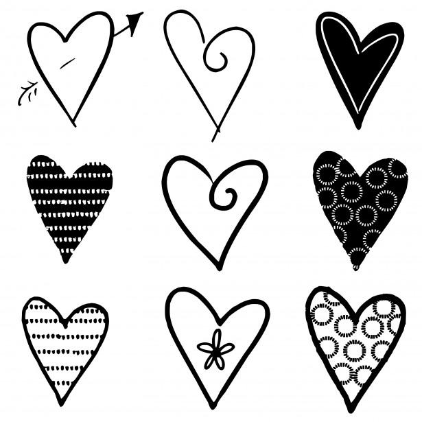 Hearts Silhouettes Black Free Stock Photo Public Domain