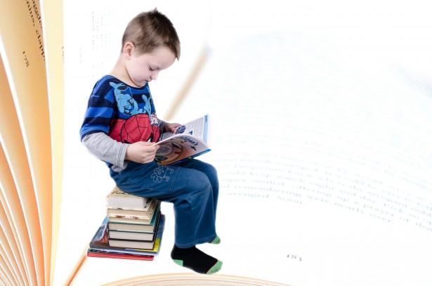 Colegial está sentado en los libros