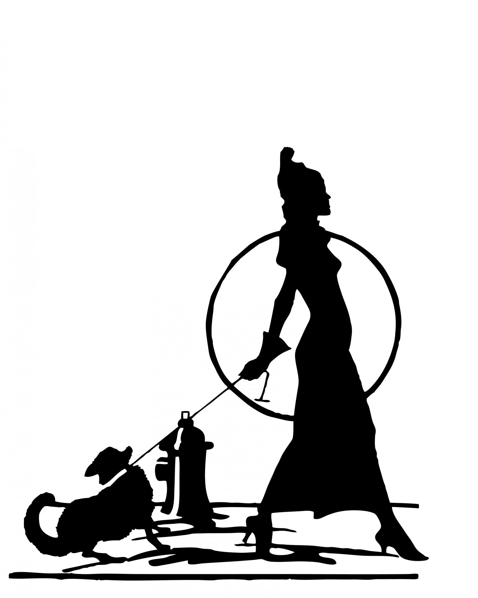 Woman Walking Dog Silhouette Free Stock Photo