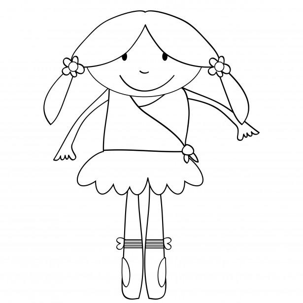 Ballerina Kinder Malvorlagen Kostenloses Stock Bild