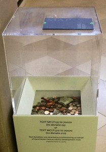 Manchester Central Library foyer: there's fivers in there