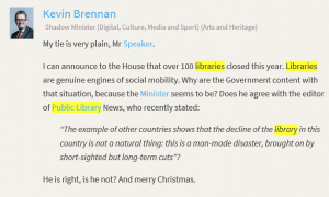 Always nice to be quoted in parliament