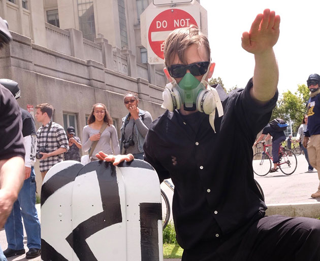 A Neo-Nazi protester in the streets of Berkeley California on April 15, 2017.