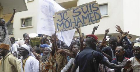 Protestas en Senegal contra el semanario francés Charlie Hebdo. EFE/EPA/ALIOU MBAYE