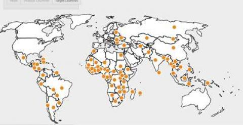 Mapa con los países donde se están acaparando tierras. LAND MATRIX