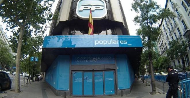 Sede nacional del PP en la madrileña calle de Ferraz. E.P.