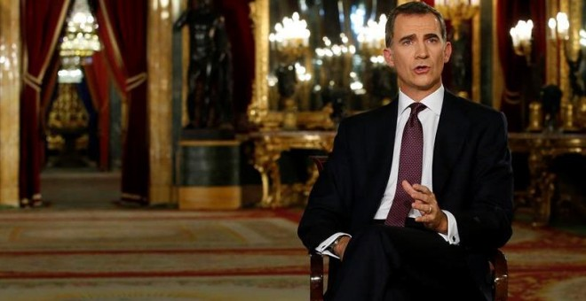 El rey Felipe VI se dirige a los españoles en su segundo mensaje de Navidad.- Angel Díaz (EFE)