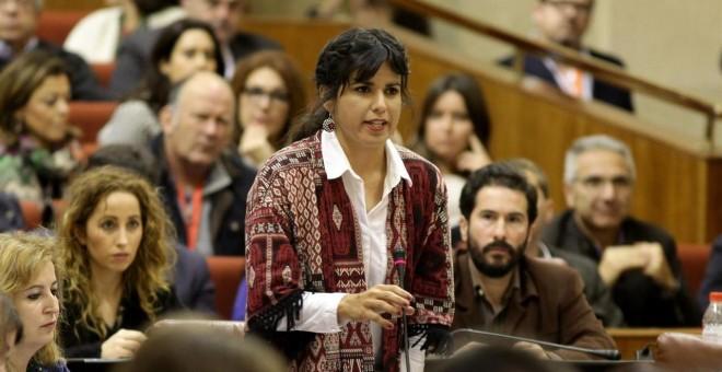 Teresa Rodríguez, en el parlamento andaluz. EUROPA PRESS