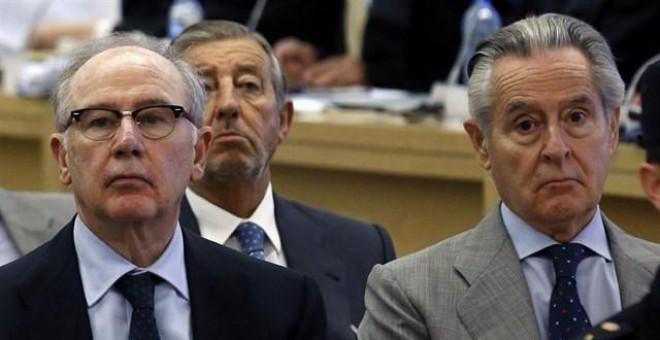 Rodrigo Rato y Miguel Blesa, máximos responsables de Bankia y Caja Madrid, en el juicio del caso de las tarjetas 'blacks'.