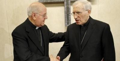 El presidente de la Conferencia Episcopal, Ricardo Blázquez, y su antecesor, Antonio María Rouco Varela. / EFE