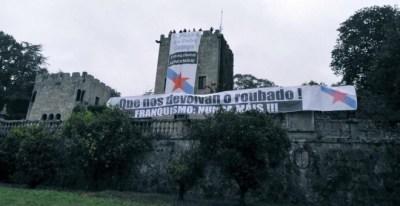 Militantes del BNG entran en el Pazo de Meirás y despliegan pancartas para reclamar 'su devolución al pueblo'.- GALIZA NOVA