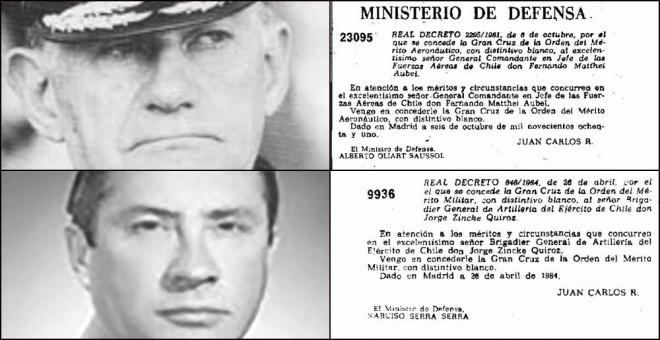 Médailles données à Fernando Matthei (ci-dessus) et Jorge Zincke (ci-dessous).