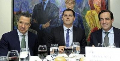 Eduardo Zaplana y José Bono, con Albert Rivera en el Club Siglo XXI   EFE /Archivo
