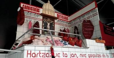 Caseta (txosna) de la comparsa libertaria Hontzak en la Semana Grande de Bilbao de 2017.