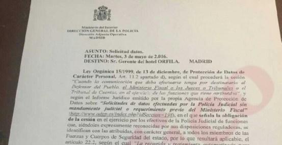 Documento interno de la Policía que recoge el hospedaje en el hotel Orfila de los testigos falsos contra Podemos.