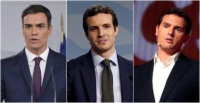 De izquierda a derecha: Pedro Sánchez, Pablo Casado y Albert Rivera. EFE