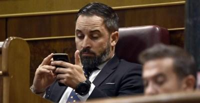 El líder de Vox, Santiago Abascal, durante su intervención. AFP/Óscar del Pozo