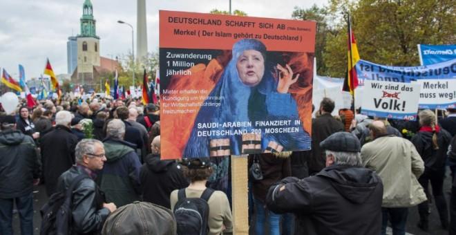 Manifestación de Alternativa para Alemania contra la acogida de refugiados. - AFP