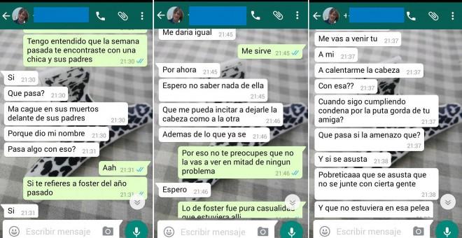 Secuencia de WhatsApp de Lucía a una conocida que intermedia para que no vuelva a agredir a su amiga.
