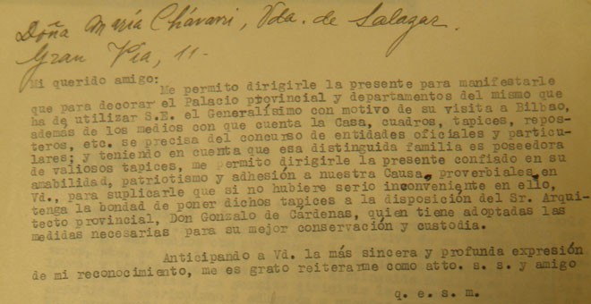 Carta solicitando tapices para Franco.