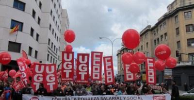 Manifestación del Primero de Mayo, convocada por CCOO y UGT, en Pamplona. E.P.