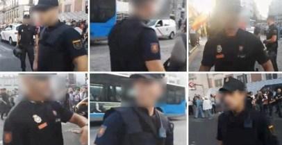 Diferentes agentes de Policía Nacional sin el preceptivo número de identificación durante la concentración del miércoles en la Puerta del Sol de Madrid.- IMÁGENES CEDIDAS POR STÉPHANE GRUESO