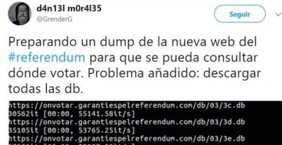 Mensaje en Twitter del joven detenido, con información sobre la forma de consultar la página web del referéndum de Catalunya.