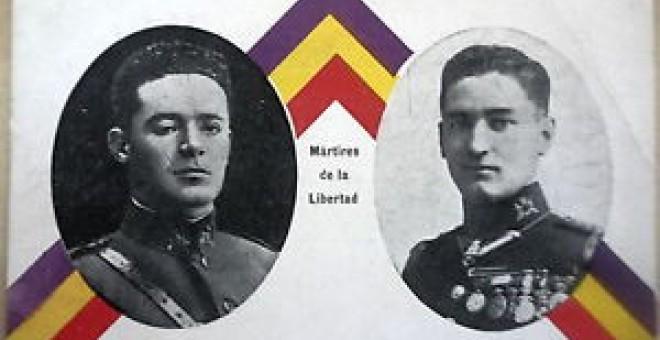 Los capitanes Fermín  Galán y Ángel García Hernández fueron considerados 'mártires' por la iconografía de la Segunda República.