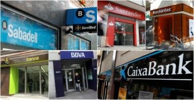 Oficinas de los mayores bancos españoles, Santander, BBVA,Caixabank, Bankia, Bankinter y Sabadell.