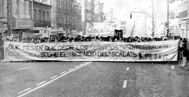 Manifestación en Barcelona por las detenciones y el juicio por el incendio de la sala de fiestas Scala.